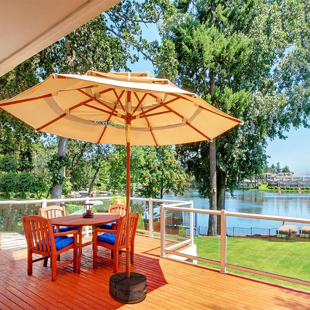 round umbrella base weight bag with side slot opening outdoor patio table umbrella base stand