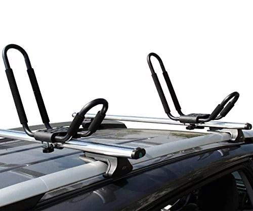 tms j bar rack hd kayak carrier canoe boat surf ski roof top mounted on car suv crossbar