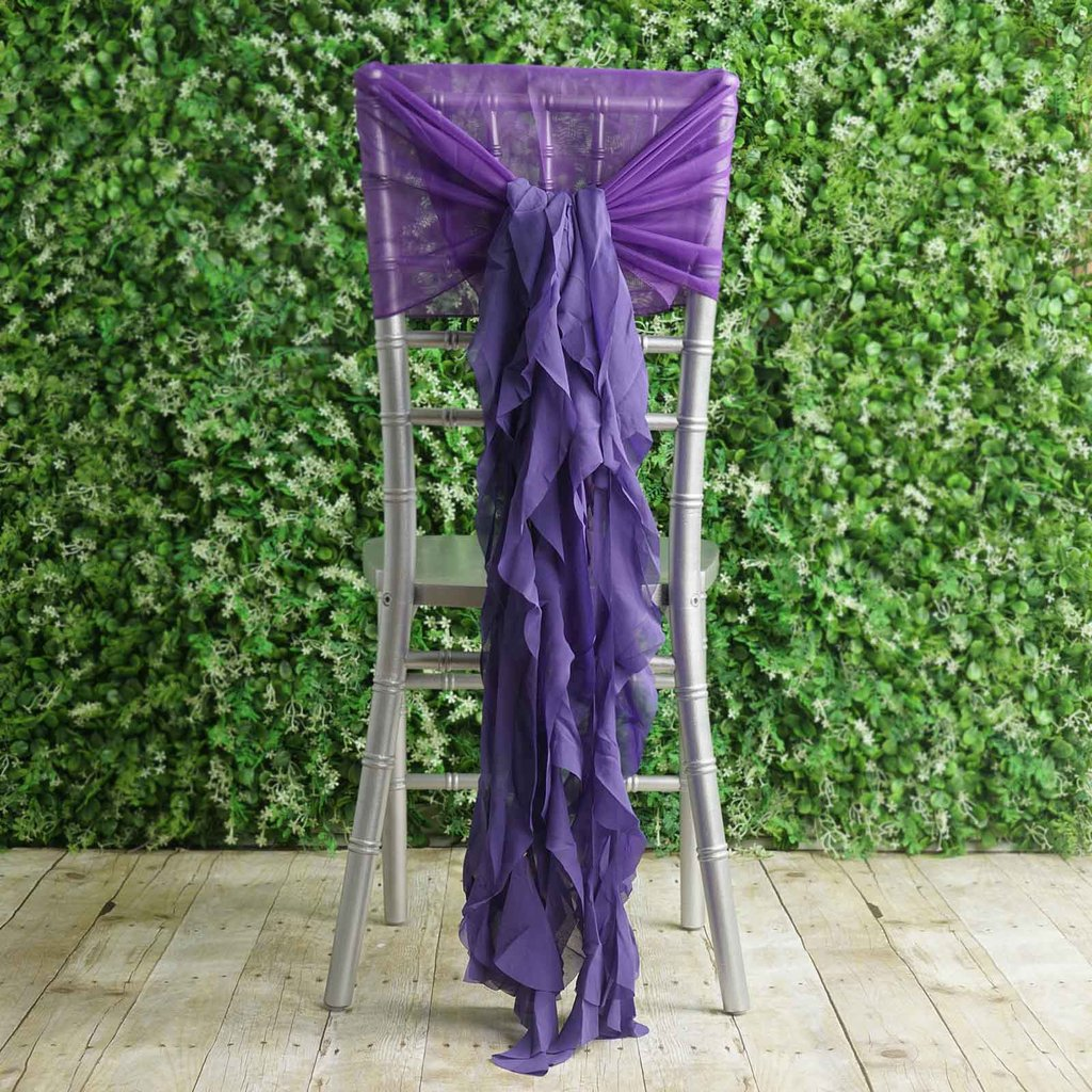 party chair covers walmart glider balsacircle premium curly chiffon cover cap with sashes wedding ceremony reception decorations cheap
