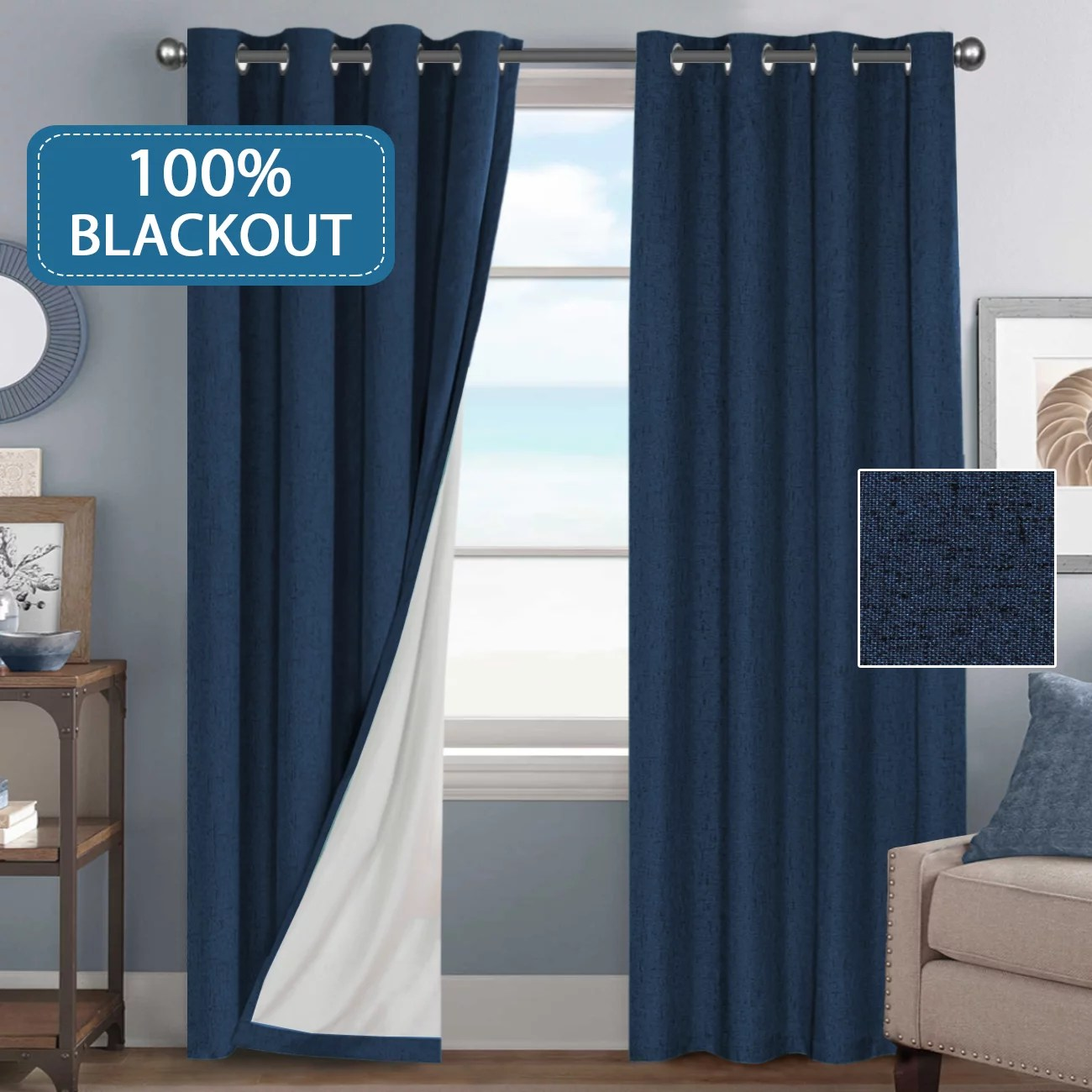 100 blackout waterproof curtains for bedroom linen textured window curtain panels for living room darkening drapes grommet top sold by pair 52 w