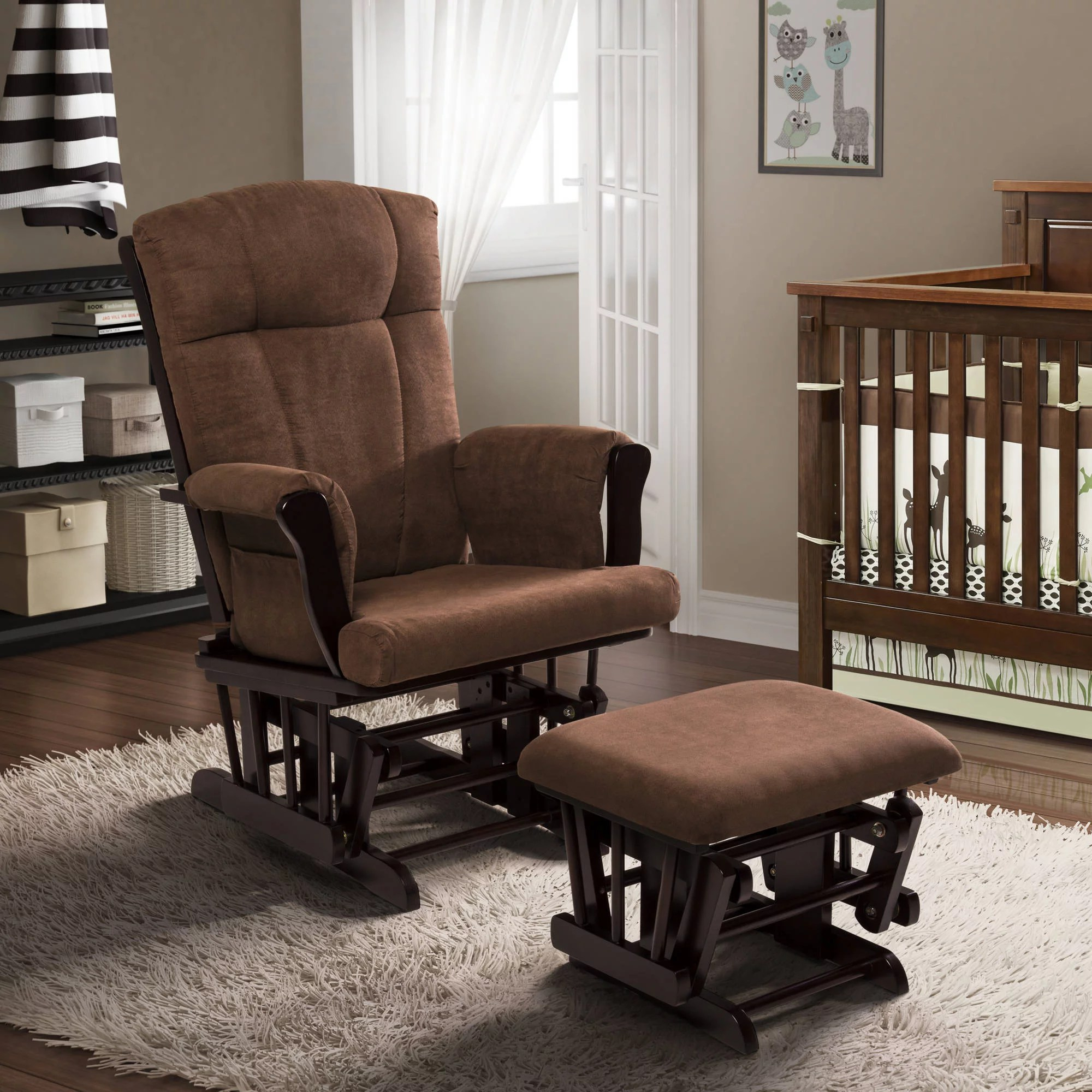 Baby Nursery Chairs Baby Relax Harbour Glider Rocker And Ottoman Espresso With Beige Cushions
