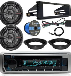 kenwood cd bluetooth marine stereo radio 2x crunch 6 5 speakers dash radio install kit speaker adapters 14 gauge speaker wire antenna 98 13 harley  [ 1600 x 1600 Pixel ]