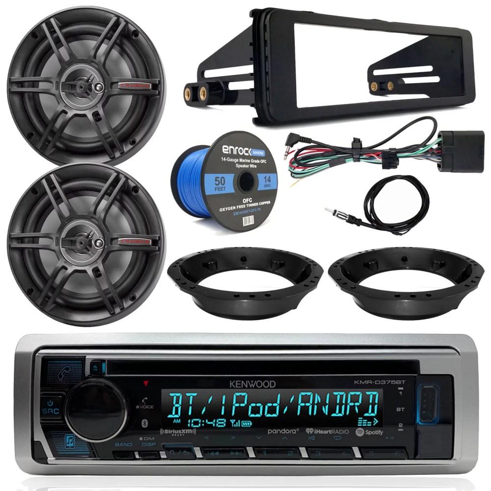 medium resolution of kenwood cd bluetooth marine stereo radio 2x crunch 6 5 speakers dash radio install kit speaker adapters 14 gauge speaker wire antenna 98 13 harley