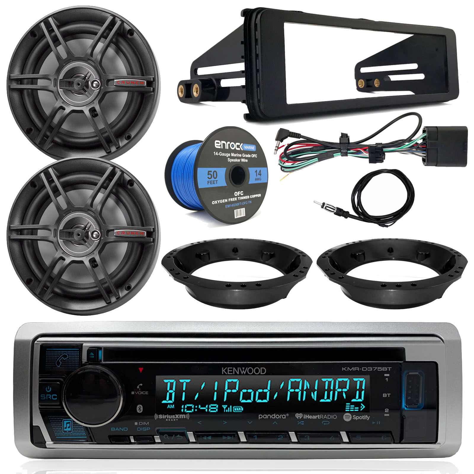 hight resolution of kenwood cd bluetooth marine stereo radio 2x crunch 6 5 speakers dash radio install kit speaker adapters 14 gauge speaker wire antenna 98 13 harley