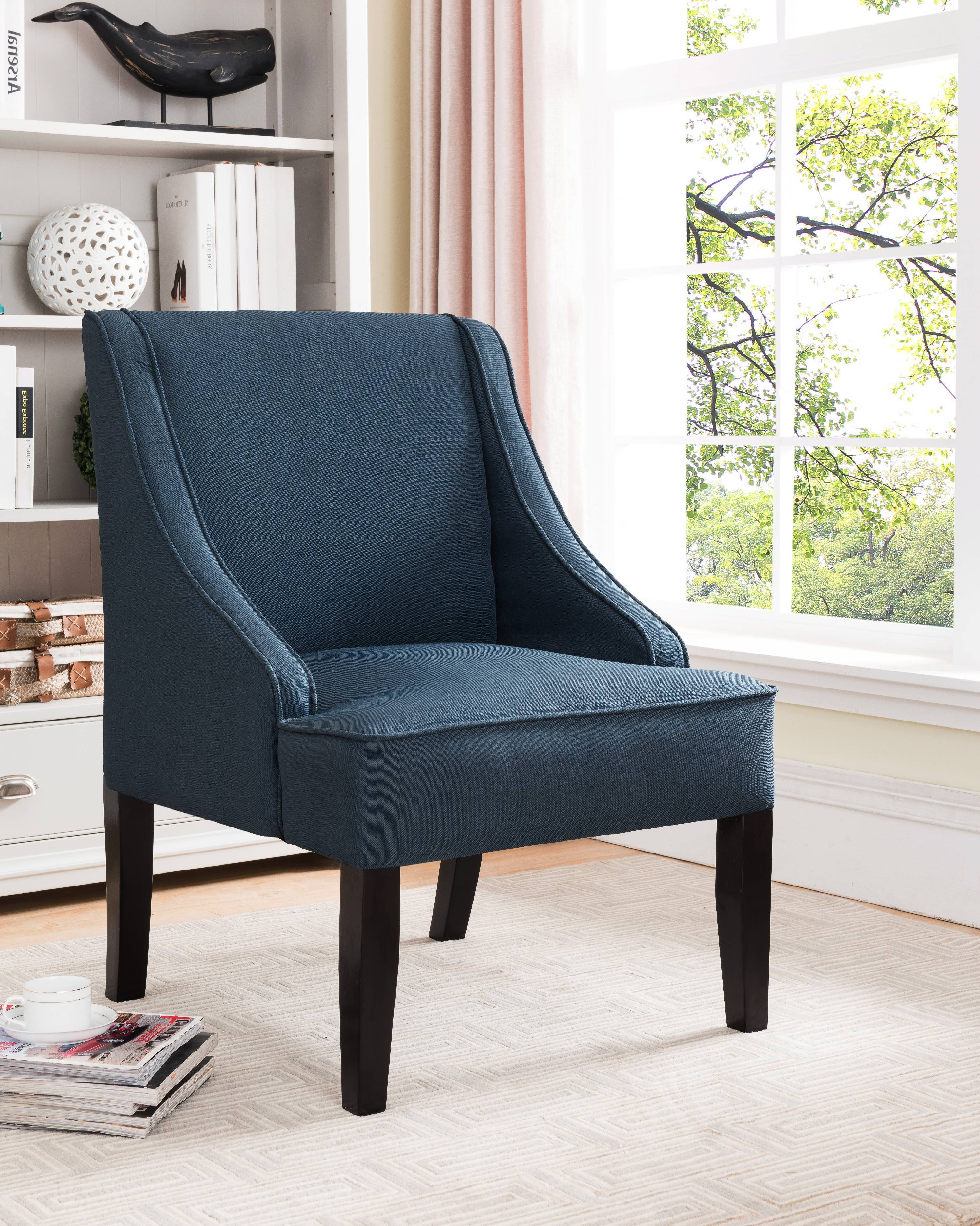 oversized upholstered chair folding quad with canopy noelle dark blue black fabric accent wood frame legs walmart com