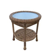 22.25 Natural Brown Two Level Resin Wicker End Table With