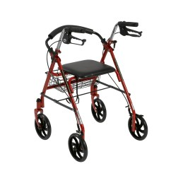 Walker Roller Chair Pride Mobility Lift Repair Drive Medical Four Wheel Rollator Rolling With Fold Up Removable Back Support Red Walmart Com