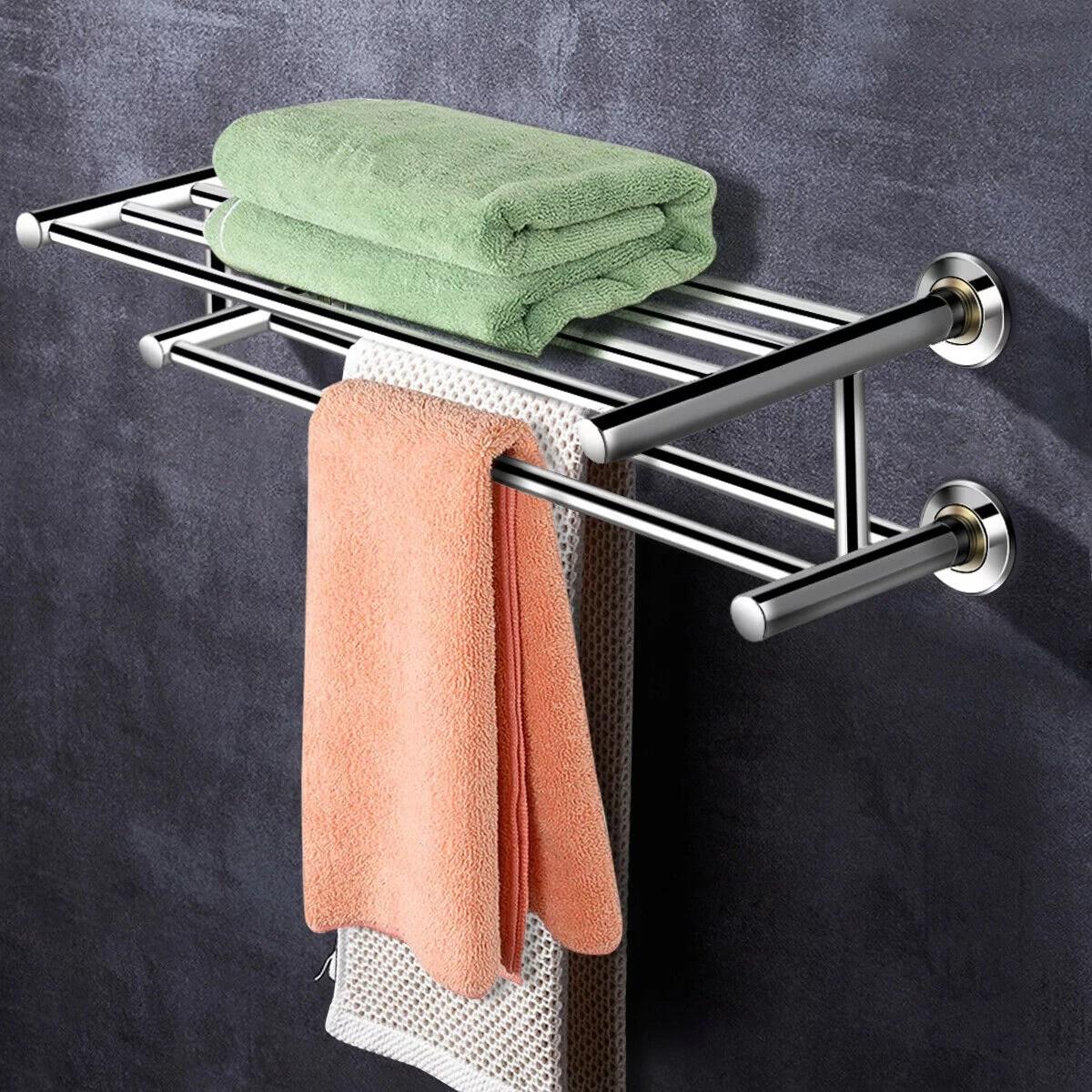 costway porte serviettes mural barres de serviette support de serviette salle de bain en acier inoxydable 201