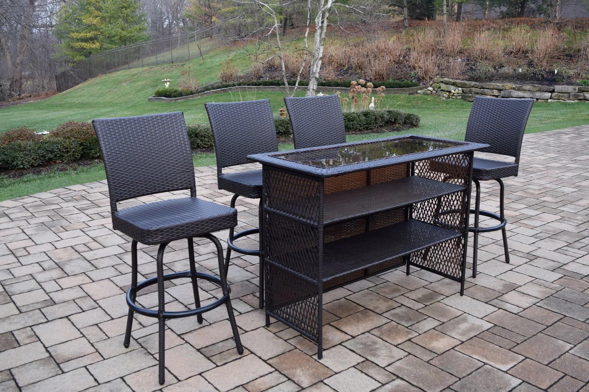5 piece black resin wicker outdoor patio bar set
