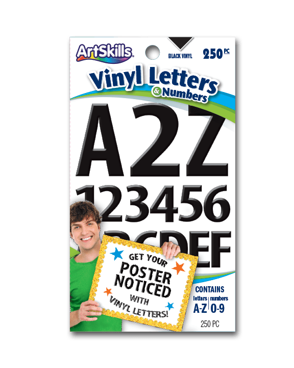artskills 1 2 inch black vinyl letter and number stickers for school posters and craft projects 245pc