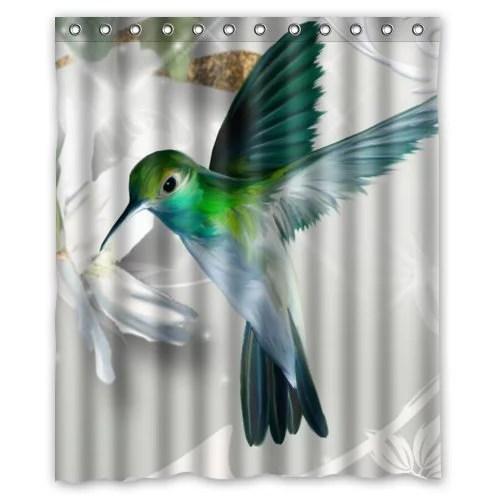 GreenDecor Hummingbird Waterproof Shower Curtain Set With Hooks Bathroom Accessories Size 60x72