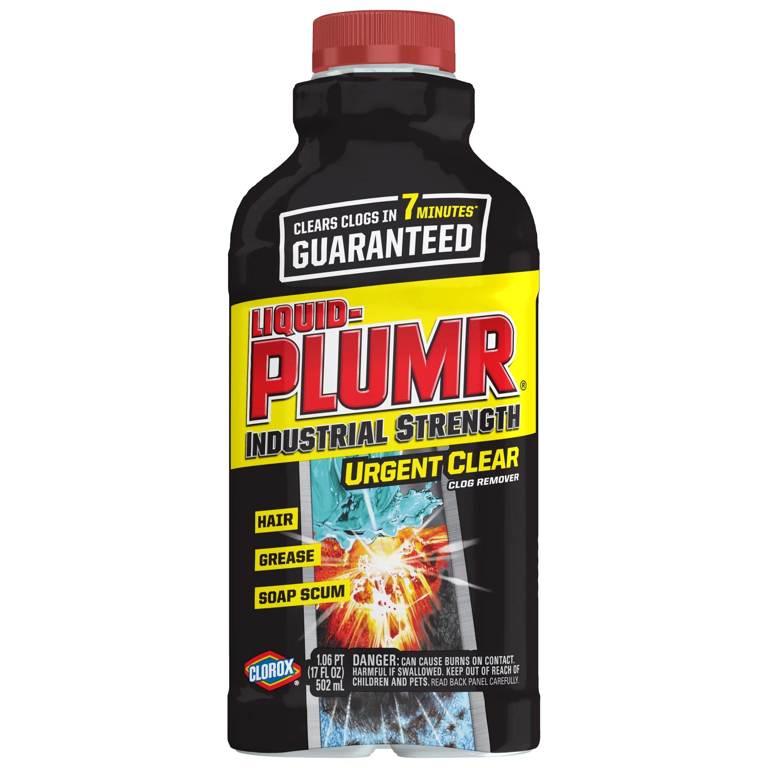 liquid plumr industrial strength urgent clear drain clog remover 17 oz walmart com