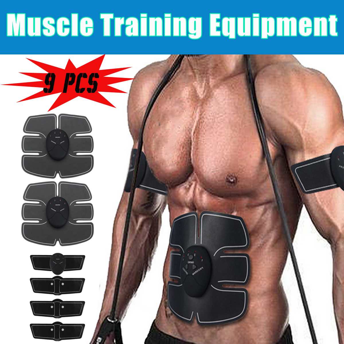 chair gym dvd set best chairs inc power lift recliner parts invalid category id walmart com product image 9pcs ems muscle abs fit training gear abdominal body exercise shape fitness rechargeable abdomen fat