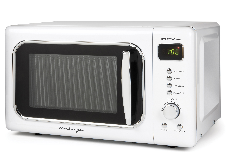 nostalgia clmo7wh classic retro 0 7 cu ft 700 watt countertop microwave oven with led display white walmart com