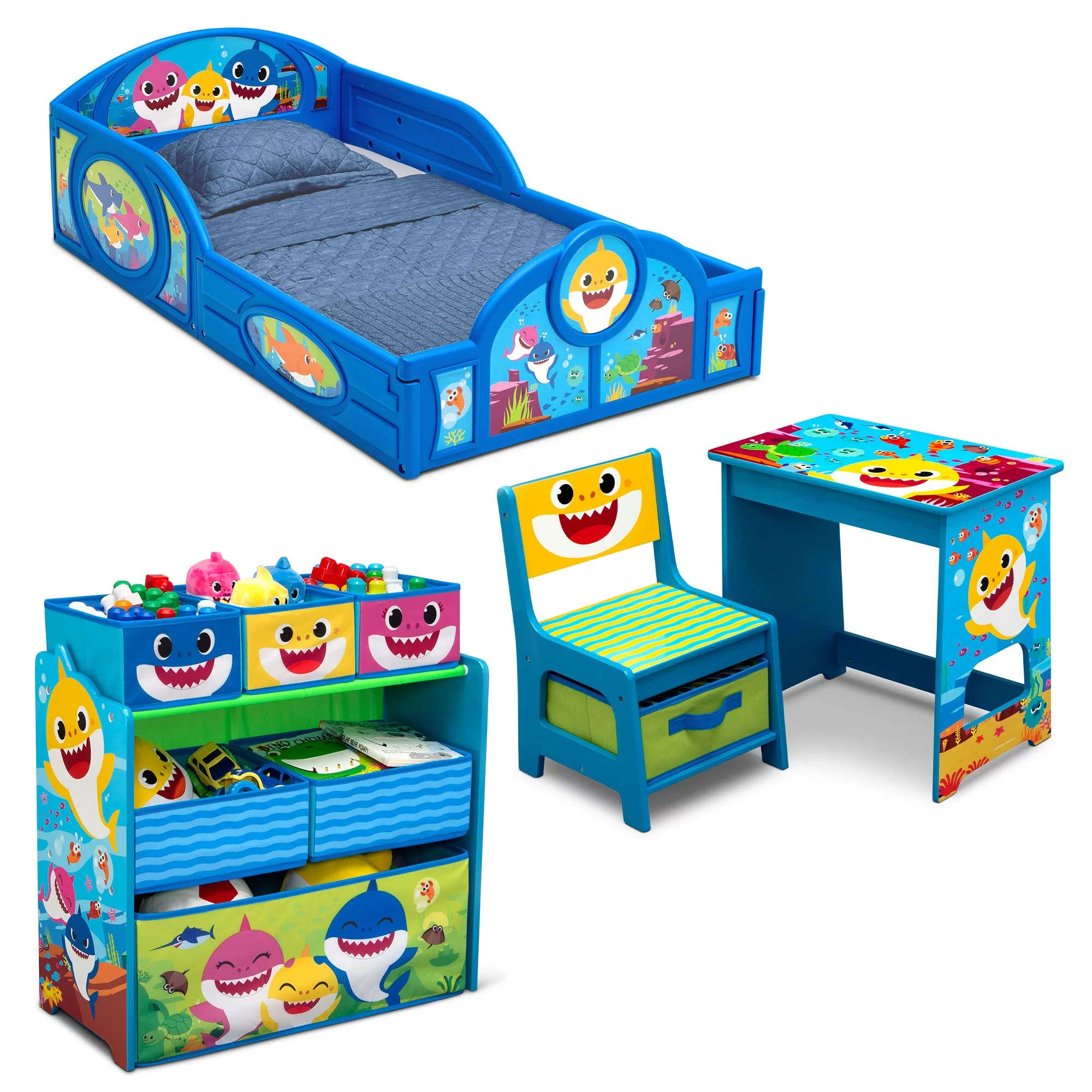 baby shark tour 4 piece room in a box bedroom set by delta children includes sleep play toddler bed 6 bin design store toy organizer and desk