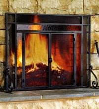 2-Door Steel Fireplace Screen w/ Tempered Glass Accents in ...
