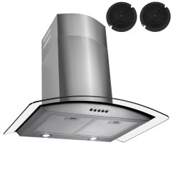 Kitchen Fan Filter Cabinets Charlotte Nc Akdy 30 Stainless Steel Powerful Push Button Control Mesh Range Hood With Carbon Filters