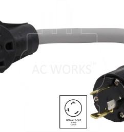 ac works evl530ms 018 30amp 125volt l5 30p locking plug to to [ 4740 x 2700 Pixel ]