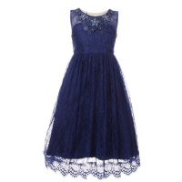 Girls Navy Floral Decorated Lace Junior Bridesmaid Dress ...