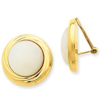 14k Yellow Gold Omega Clip Mother of Pearl Non-pierced ...