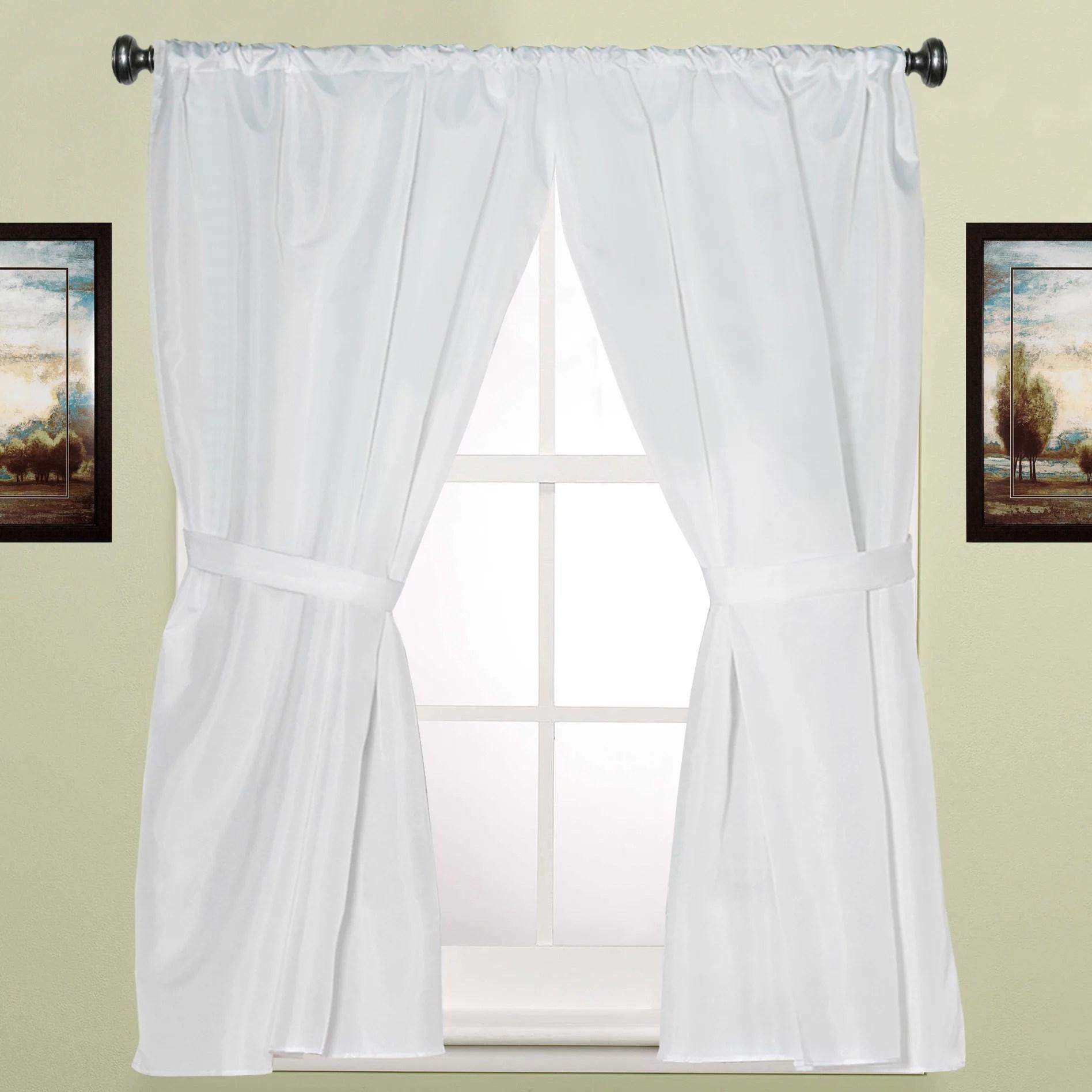 bath window curtain w tie backs 36 x