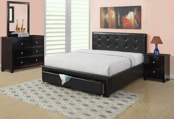Black Faux Leather Full Size Bed Storage Drawer Fb Dresser Nightstand Mirror Modern 4pc