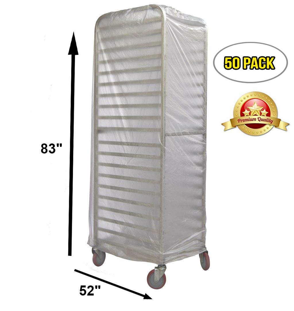 pack of 50 disposable bun rack covers 52 x 83 bread rack covers 52x83 fda approved 15 micron polyethylene covers for bakeries and other food