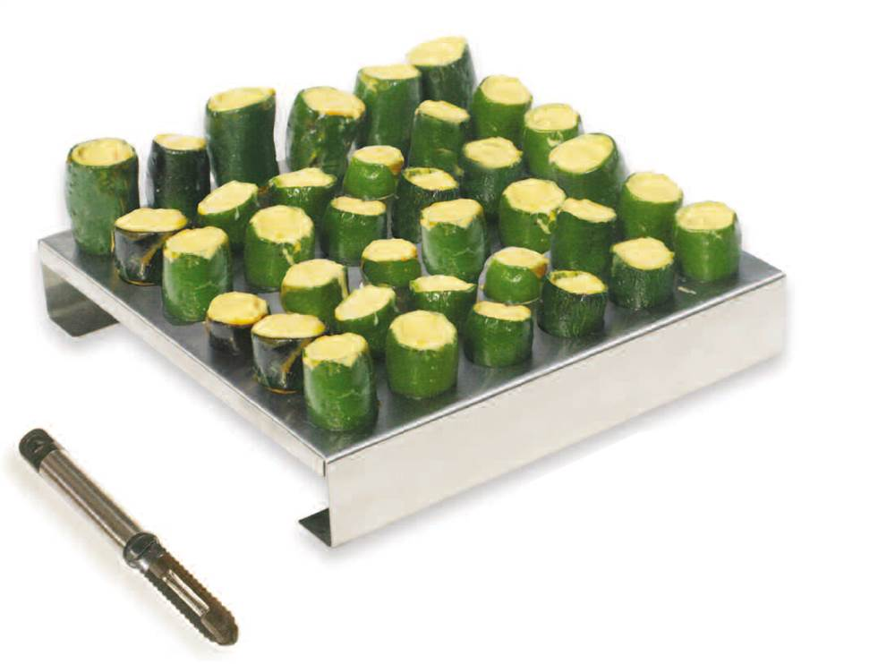 stainless steel 36 hole jalapeno rack with corer