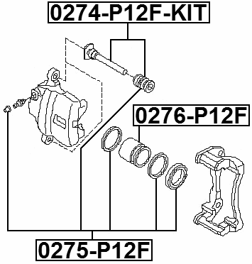 FRONT BRAKE CALIPER REPAIR KIT 0275-P12F Febest Automotive