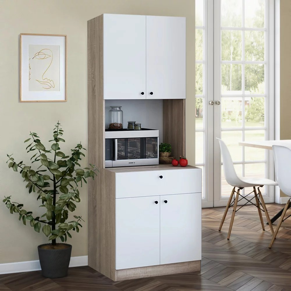 living skog pantry kitchen storage cabinet with storage shelves and microwave in white height 71 length 26 width 19