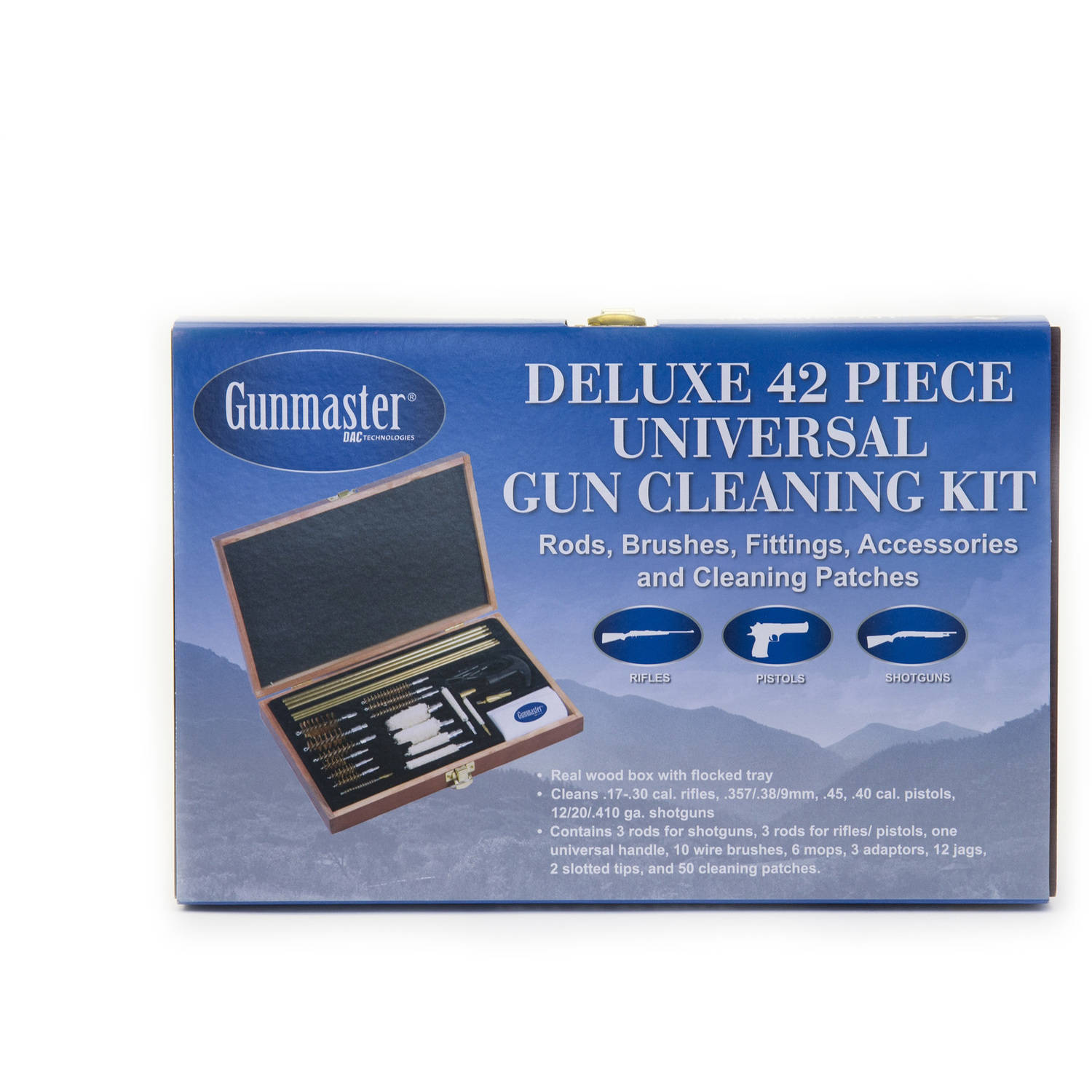 hight resolution of gunmaster 42 piece deluxe universal cleaning kit in wooden case walmart com