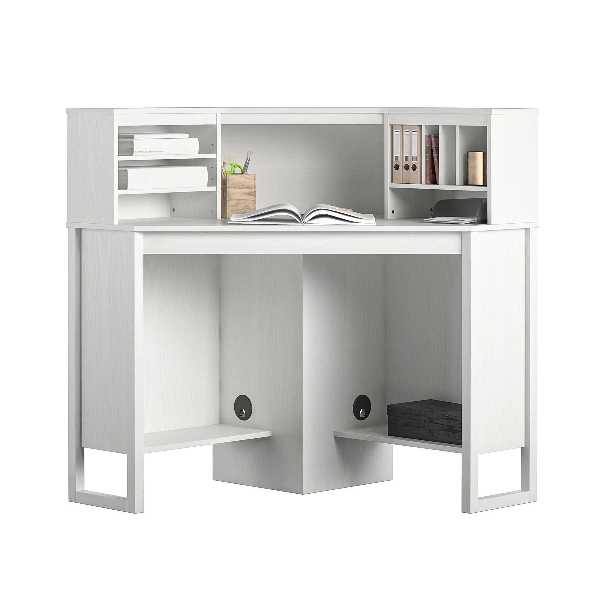 mainstays corner desk with hutch white
