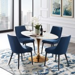 Modern Deco Contemporary Urban Design Kitchen Dining Room Dining Table Metal Steel Artificial Marble White Rose Gold Walmart Com Walmart Com