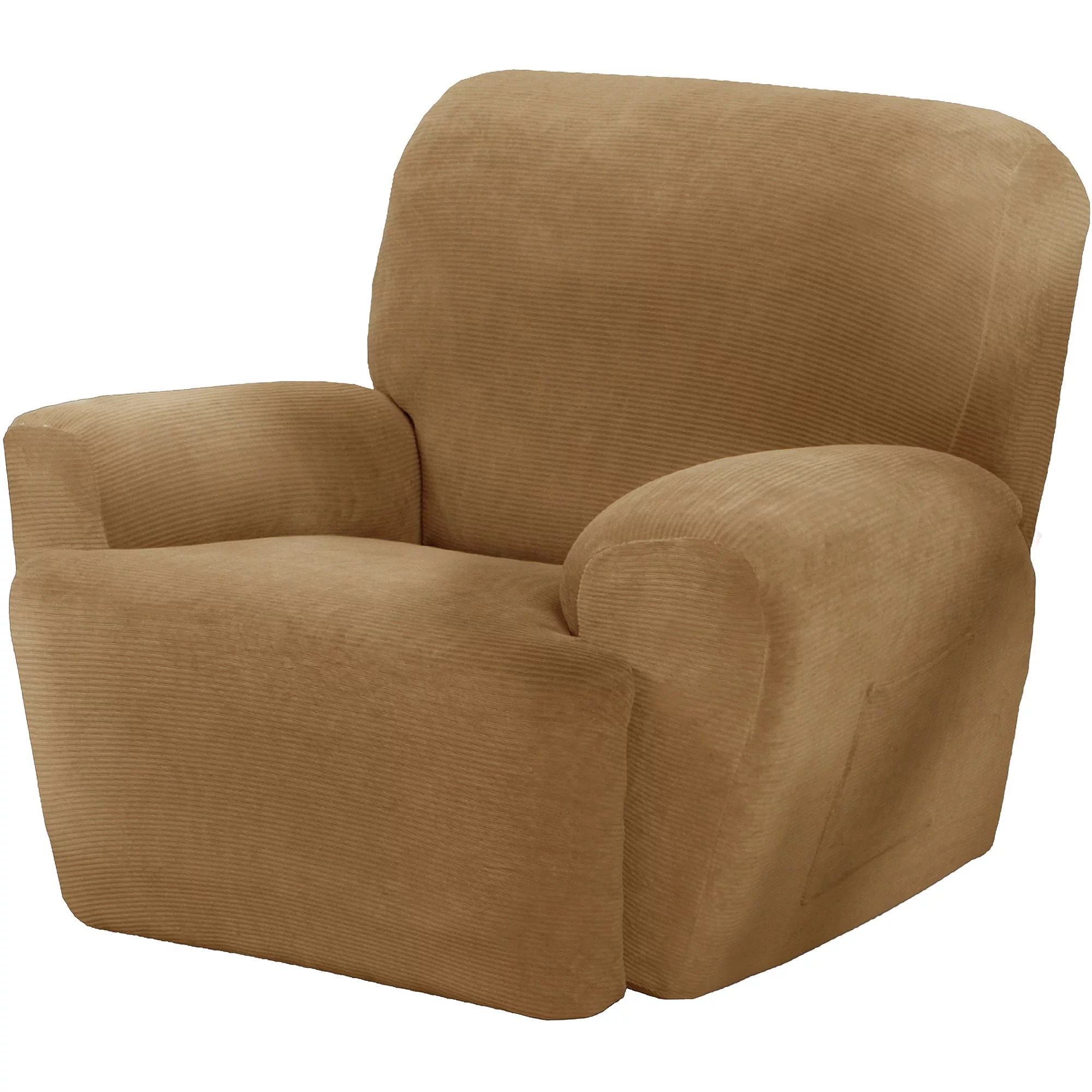 recliner chair covers red upholstered maytex stretch collin 4 piece armchair furniture cover slipcover with side pocket gold walmart com