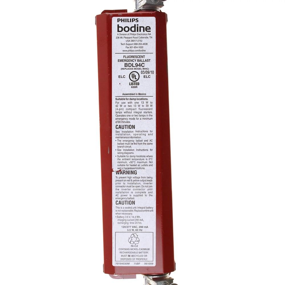 medium resolution of philips bodine bdl94c pdl94026m flourescent emergency ballast walmart com