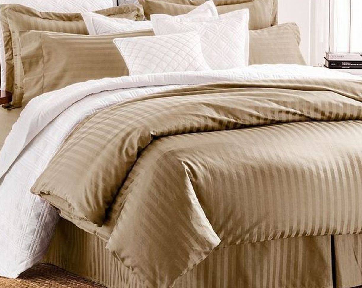 chaps damask stripe tan oatmeal 3 pc cotton duvet cover set king size bed walmart com