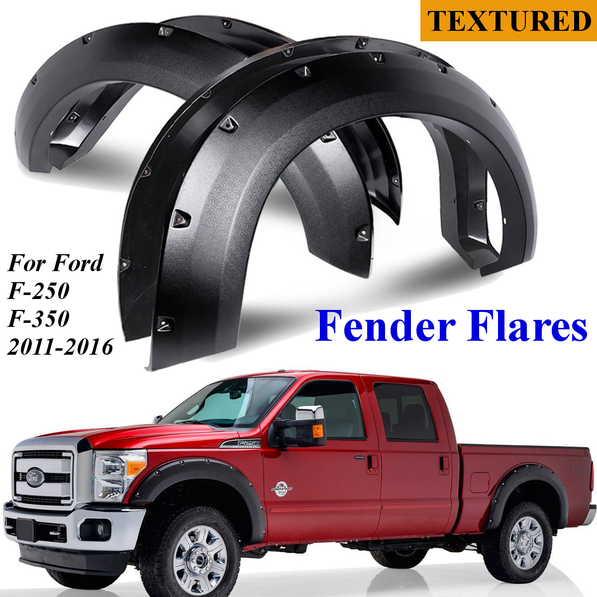 hight resolution of 4pc car pocket rivet style side fender wheel flares for ford f 250 f 350 2011 2016 walmart com