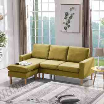 Urhomepro Reversible Sectional Sofa Couch Modern 3 Seat Couch Sofa Sectional L Shape Couch For Small Apartment High End Living Room Furniture Couch Sofa Set Mid Century Sofa Set Yellow Q14984 Walmart Com