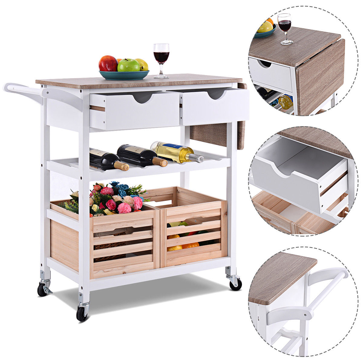 kitchen wine rack large clocks rolling trolley island cart drop leaf w storage drawer qty