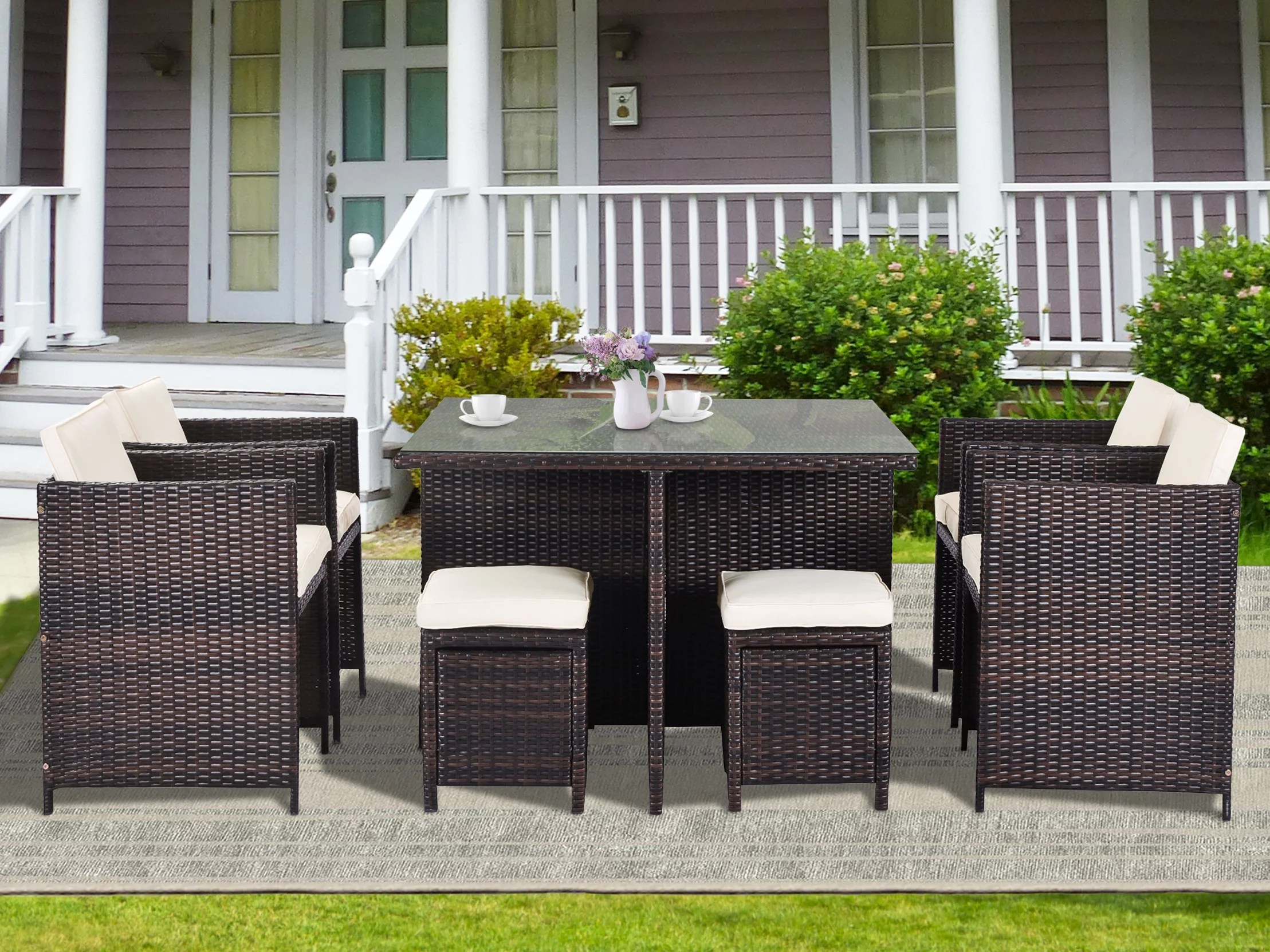 enyopro 9 piece patio furniture dining set outdoor rattan wicker patio dining table set all weather conversation set with ottoman for garden