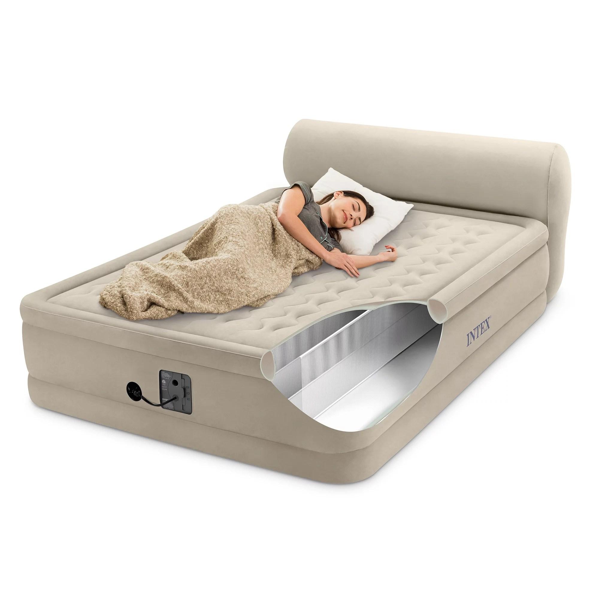 queen air mattress with headboard