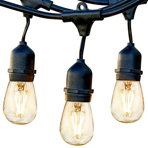 brightech ambience pro waterproof led outdoor string lights hanging 2w vintage edison bulbs 48 ft commercial grade patio lights create cafe