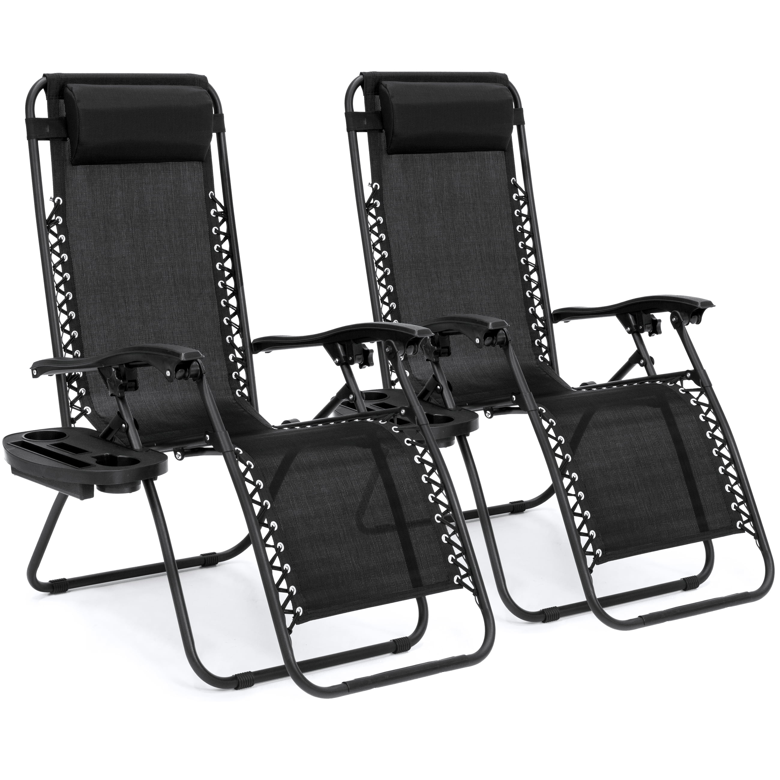 best choice products set of 2 adjustable zero gravity lounge chair recliners for patio pool with cup holders beige