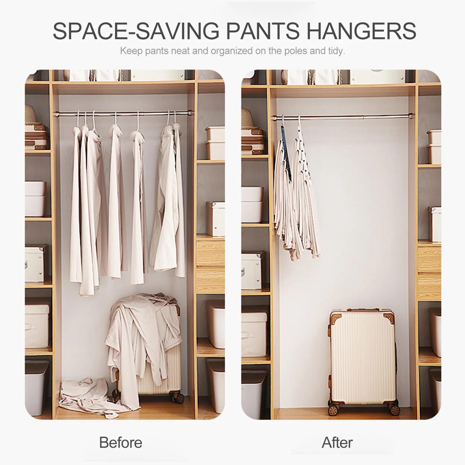 folding pants rack closet space saving pants hangers closet storage clothes organizer 5 layered pants rack for scarf trousers skirts