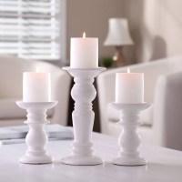 Better Homes & Gardens Ceramic Pillar Candle Holders, Set ...
