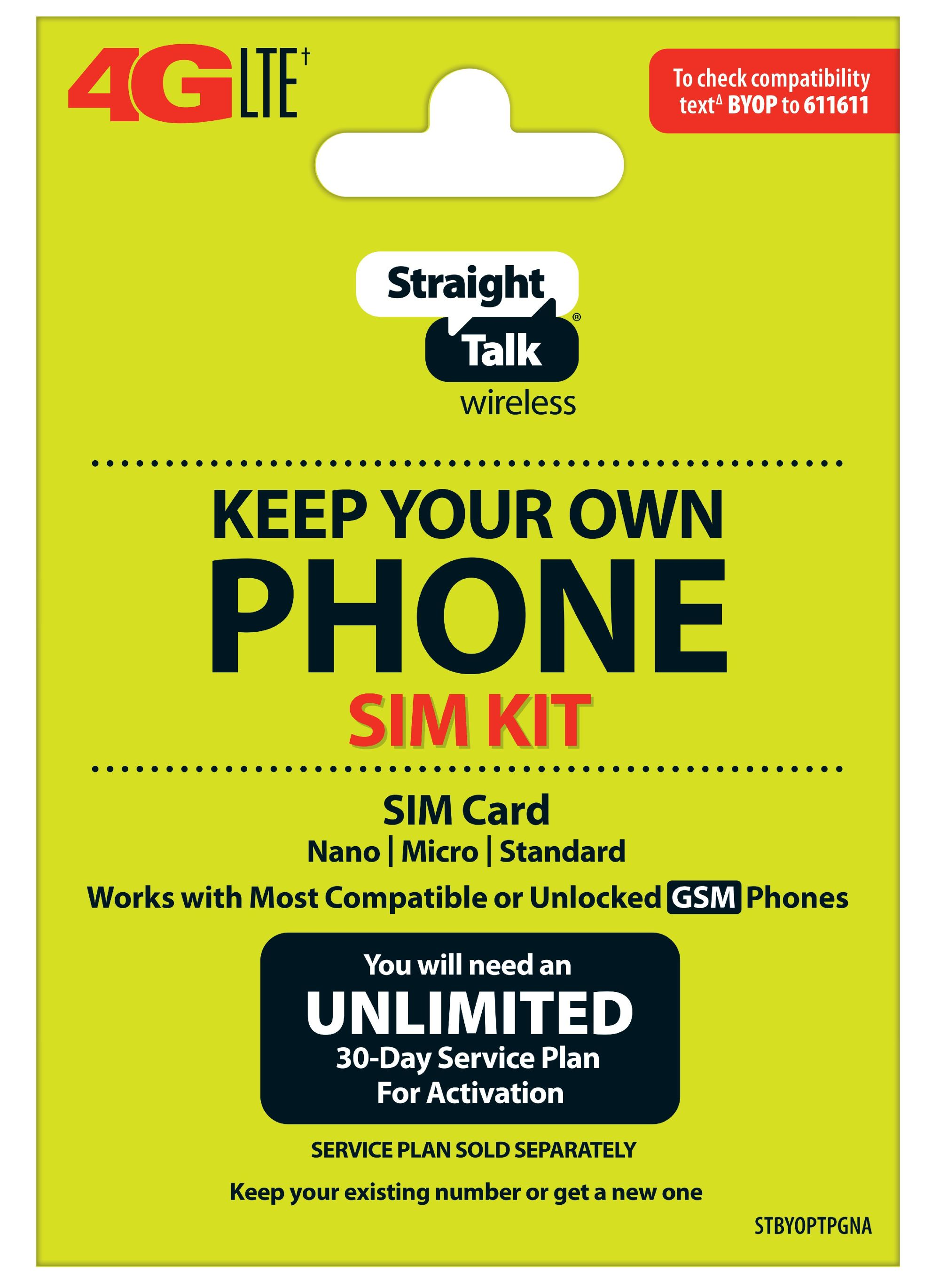 hight resolution of straight talk keep your own phone sim card kit at t gsm compatible devices walmart com