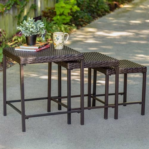tuscany 3 piece nesting outdoor side table set wicker