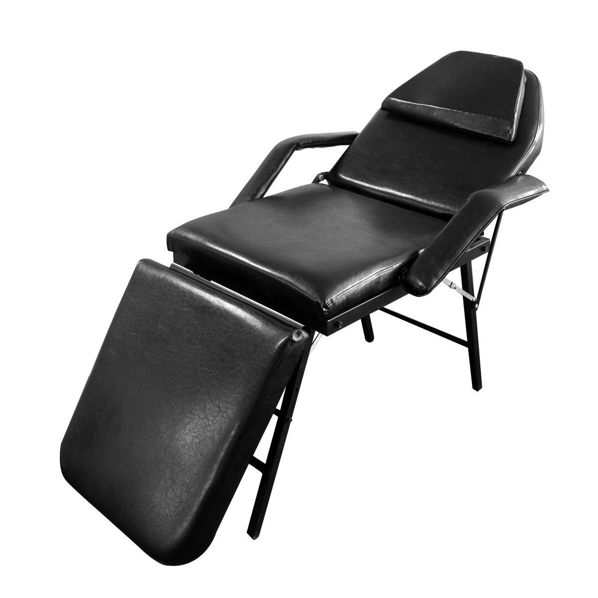 Foldable Bed Chair Magshion No Assembly Foldable Adjustable Massage Bed Chair Beauty Spa Salon Barber Tattoo Chair Black