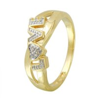 Foreli Ladies 0.02CTW Diamond 10k Yellow Gold Ring ...
