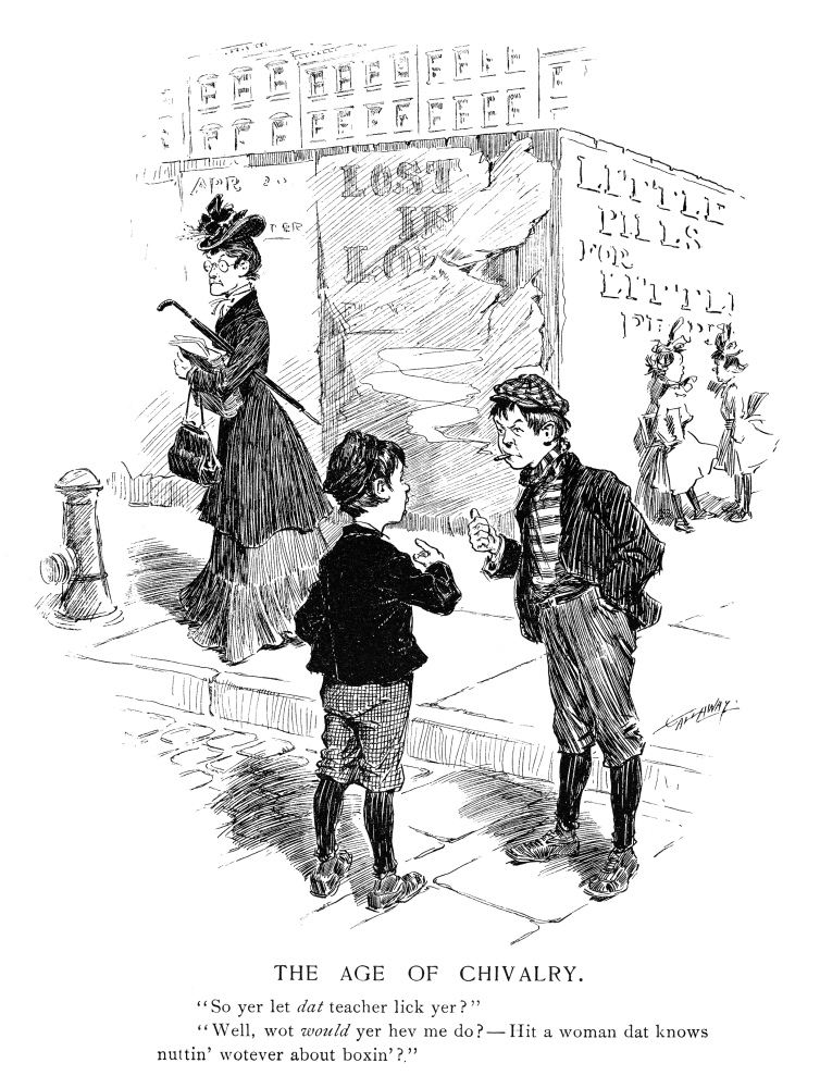 Cartoon Schoolboys 1904 NThe Age Of Chivalry So Yer Let